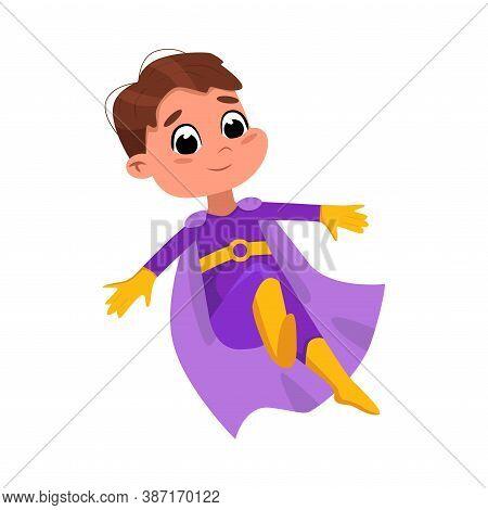 Cute Boy In Purple Superhero Costume, Adorable Kid Superhero Character Cartoon Style Vector Illustra