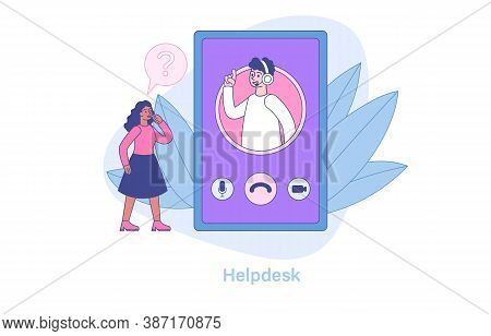 Abstract Helpline Concept With A Woman Receiving A Free Consultation On The Customer Support Hotline