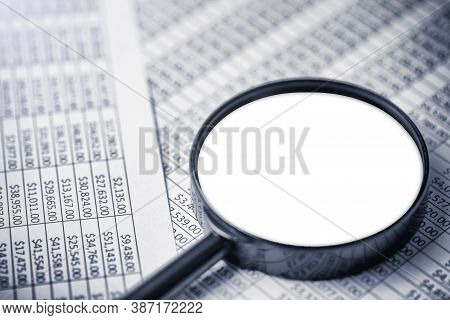 Money Report Background. Irs Audit Results. Business Prints Investigation. Magnifying Glass On Paper