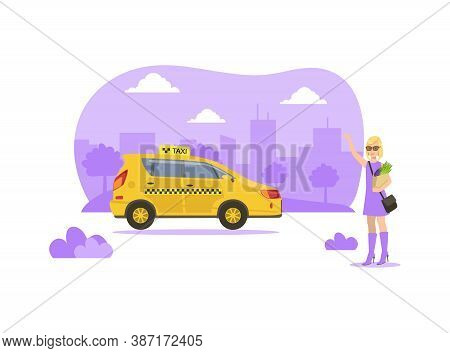 Young Woman Hailing A Taxi Car, Mobile City Public Transportation Service Vector Illustration