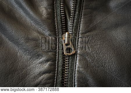Metal Zipper On The Leather Jacket. Close Up. Selective Focus