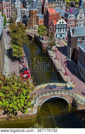 The Hague, Netherlands - April 26, 2017: Amsterdam in Madurodam miniature park in The Hague.