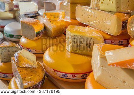 Rotterdam, Netherlands - April 26, 2017: Cheese shop on market Markthal in Rotterdam.
