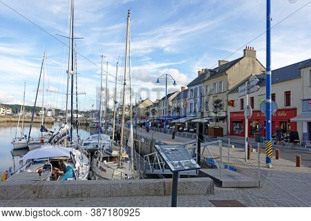 Port-en-bassin, France August 2020: The French Fishing Port Of Port En Bassin In Normandy Close To T