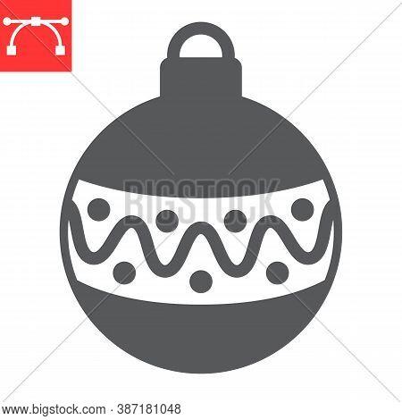 Christmas Tree Ball Glyph Icon, Merry Christmas And Xmas, Christmas Bauble Sign Vector Graphics, Edi