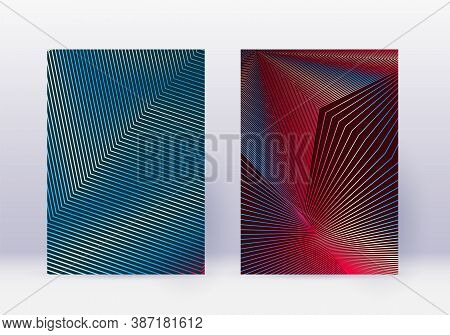 Cover Design Template Set. Abstract Lines Modern Brochure Layout. Red Vibrant Halftone Gradients On