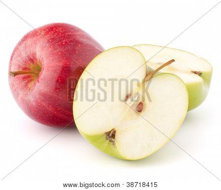Roten und grünen Apfel, die isoliert auf weißem Hintergrund