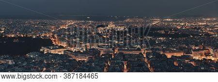 Athens skyline panorama viewed from Mt Lykavitos with Acropolis, Greece.