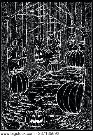 Black Vector Illustration With Path Or Trailway, Scary Pumpkin Head And Lanterns Hiding Behind The