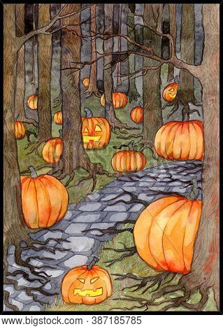 Watercolor Illustration With Path Or Trailway, Scary Pumpkin Head And Lanterns Hiding Behind The  Gl
