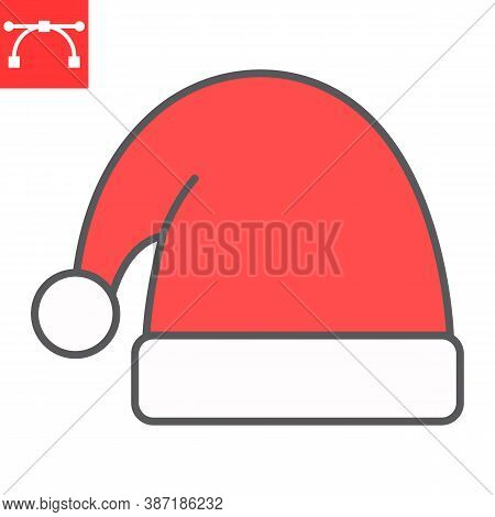 Santa Hat Color Line Icon, Merry Christmas And Xmas, Noel Hat Sign Vector Graphics, Editable Stroke