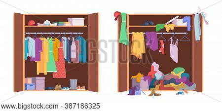 Messy Clothes Wardrobe. Modern Interior Storage With Opening And Closed Organized Wardrobe Vector Se
