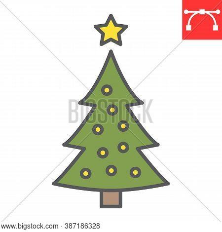 Christmas Tree Color Line Icon, Merry Christmas And Xmas, Fir Tree Sign Vector Graphics, Editable St