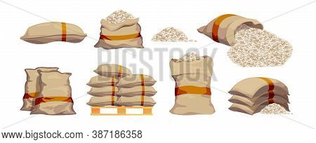 Rice Bags. Pile With Sackful Textile Objects Grain Agricultural Collection Vector Sacks In Cartoon S