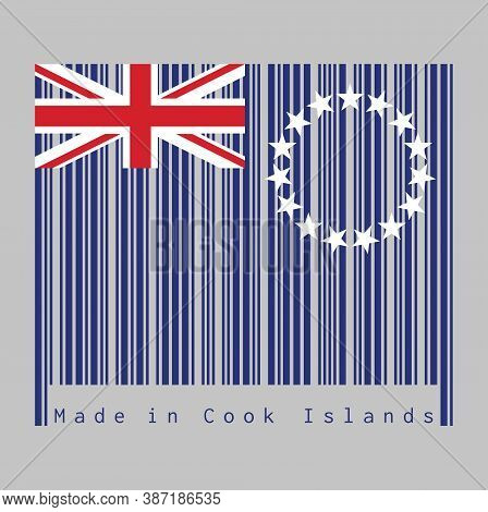 Barcode Set The Color Of Cook Islands Flag, Blue Ensign With A Ring Of Star And Union Jack. Text: Ma