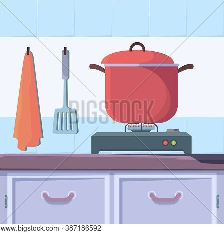 Gas Stove Food. Kitchen Interior With Boiling Food Cooking Cuisine Vector Concept. Kitchen Domestic,