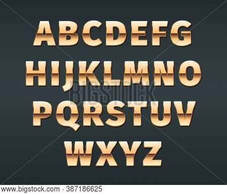 Golden Font. Luxury Exclusive Golden Gradient Letterings Glossy Alphabet Vector Templates For Casino