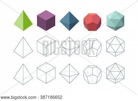 Platonic Solid. Geometrical 3d Object Shapes Vector Collection. Polygon Pyramid Form, Platonic And P