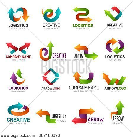 Arrows Logotype. Digital Web Stylized Symbols Direction Abstract Arrows For Business Identity Geomet