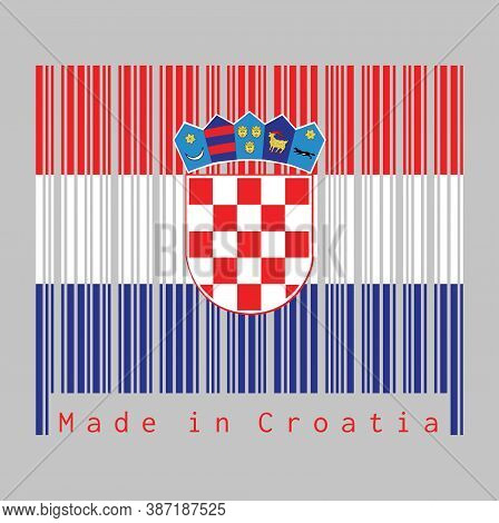 Barcode Set The Color Of Croatia Flag, Red, White, And Blue With The Coat Of Arms Of Croatia On Grey