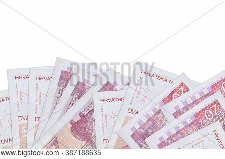 20 Croatian Kuna Bills Lies On Bottom Side Of Screen Isolated On White Background With Copy Space. B