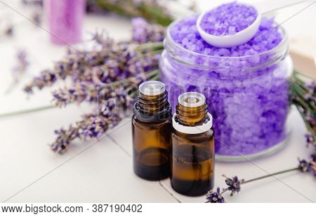 Lavender Essential Oils And Violet Sea Salt, Lavender Flowers. Lavender Bath Products Aromatherapy T