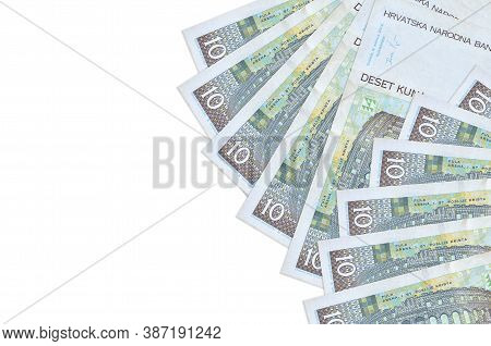 10 Croatian Kuna Bills Lies Isolated On White Background With Copy Space. Rich Life Conceptual Backg