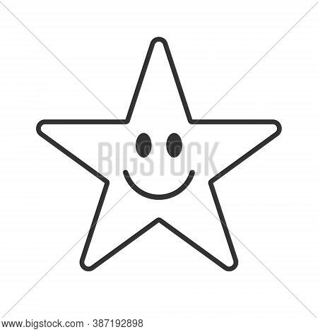 Smiling Star Face Vector Icon Symbol. Smile Button Sign. Simple Flat Shape Happy Emotion Logo. Outli