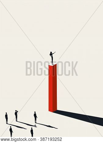 Business Woman Leader Vector Concept With Woman Leading Team. Symbol Of Emancipation, Success, Ambit