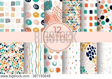 Hand Drawn Circle Pattern Of Brush Stroke. Vector Seamless Pattern Set Geometric Texture Shapes. Abs