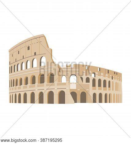 Colosseum - Rome Italy -  Via Dei Verbiti Side View - Flat Vector Isolated