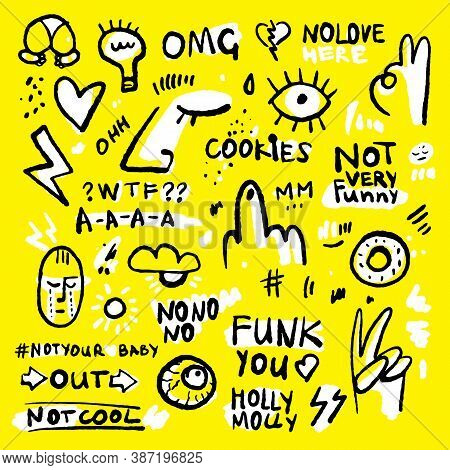 Positive And Funny Doodle Sticker Set In Black, Yellow And White Colors. Hand Drawn Stickers With Do