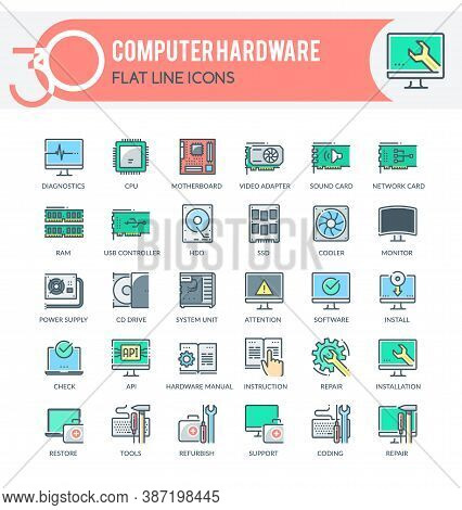 Set Of Filled Outline Icons On Following Topics Computer Hardware, Computer Technology, Computer Dia
