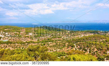 View of Aegina Island next to Agia Marina, Saronic Islands, Greece. Greek panoramic landscape