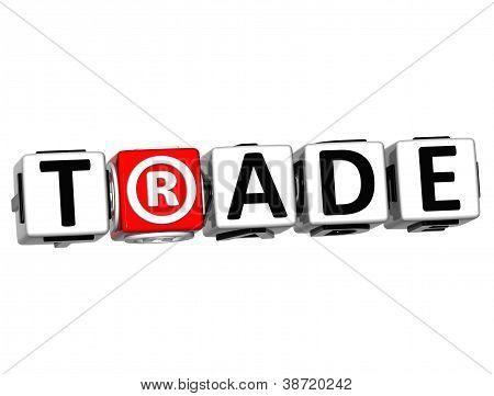 3D Trade Button Click Here Block Text