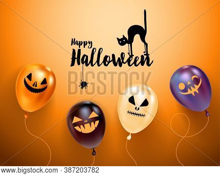 Set Of Halloween Balloons With Scary Faces And Halloween Logo With Cat In Hat. Orange Background. Gr