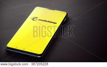 Kyiv, Ukraine-june, 2020: Mailchimp Mobile Application On The Cellphone Screen. Closeup Studio Shot