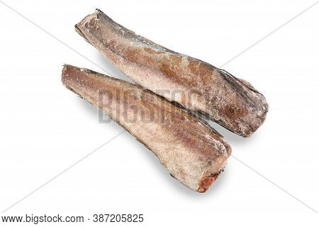 Frozen Hake Fish Isolated On White Background. Top View.