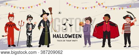 Halloween Party Poster. Group Of Funny Kids In Halloween Costume. Vector Illustration Eps10