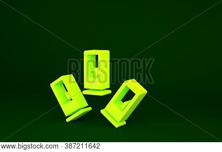 Yellow Cartridges Icon Isolated On Green Background. Shotgun Hunting Firearms Cartridge. Hunt Rifle