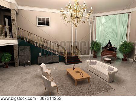 3d Rendering Of A Luxury Big Foyer Interior