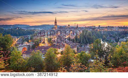 City Of Bern. Panoramic Cityscape Image Of Downtown Bern, Switzerland During Beautiful Autumn Sunset