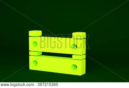 Yellow Wooden Box Icon Isolated On Green Background. Grocery Basket, Storehouse Crate. Empty Wooden