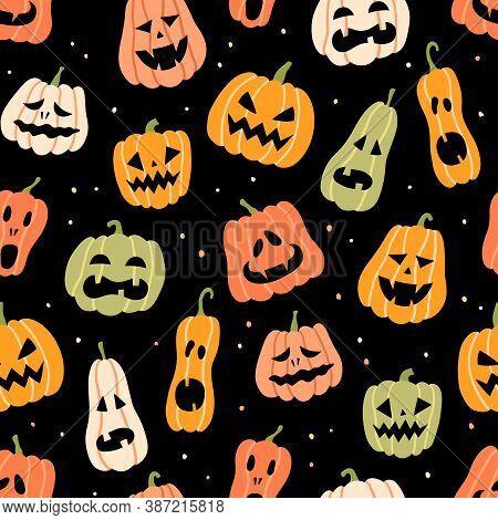 Halloween Pumpkins. Color Dynamic Seamless Pattern. Hand Drawn Vector Illustration On Black Backgrou