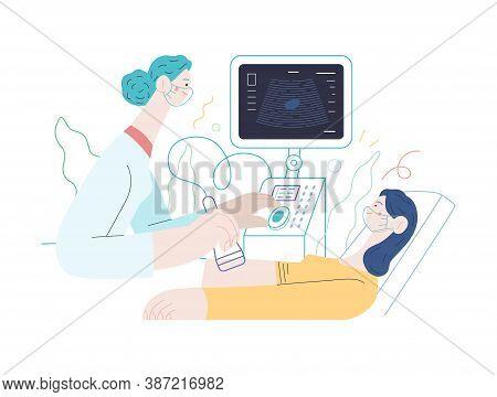 Medical Tests Illustration - Ultrasound - Modern Flat Vector Concept Digital Illustration Of Ultraso