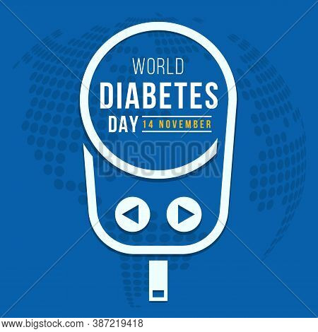 World Diabetes Day Text In White Line Blood Glucose Meter Sign On Blue Globe Texture Background Vect
