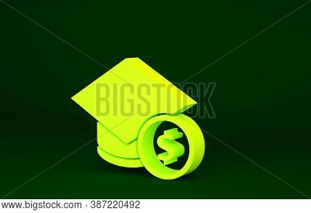 Yellow Graduation Cap And Coin Icon Isolated On Green Background. Education And Money. Concept Of Sc