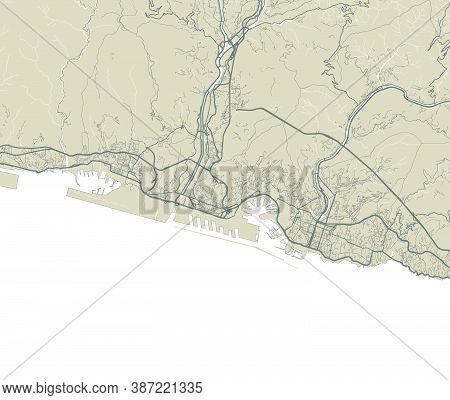 Detailed Map Of Genoa City Administrative Area. Royalty Free Vector Illustration. Cityscape Panorama