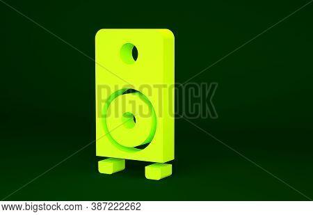 Yellow Stereo Speaker Icon Isolated On Green Background. Sound System Speakers. Music Icon. Musical