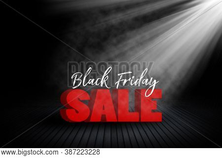 Black Friday sale background with room interior and spotlight